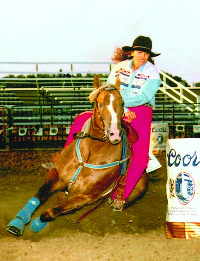 Deb Myers piloted Frenchmans Guy to success at both amateur and pro rodeos, like this one in 1995 at Dickinson, North Dakota.
