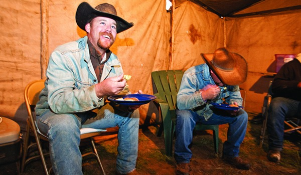 Justin Hensley was among the cowboys who showed up to eat our meals.