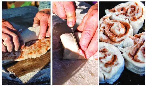 Sourdough cinnamon rolls start as a tube of dough that is rolled, sliced into individual spirals and then placed in the Dutch oven.