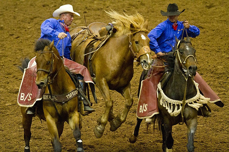 Pickup men handle a bronc during the ranch rodeo.