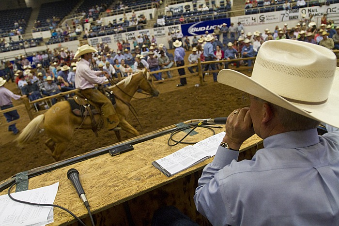 Steve Friskup auctioneers during the Invitational Ranch Horse Sale. With 69 consignments, the sale averaged $5,832.