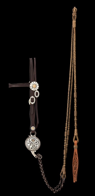 Silversmiths Wilson Capron and Scott Hardy created silver for the saddle and bridle, and Leland Hensley braided the rawhide reins and romal.