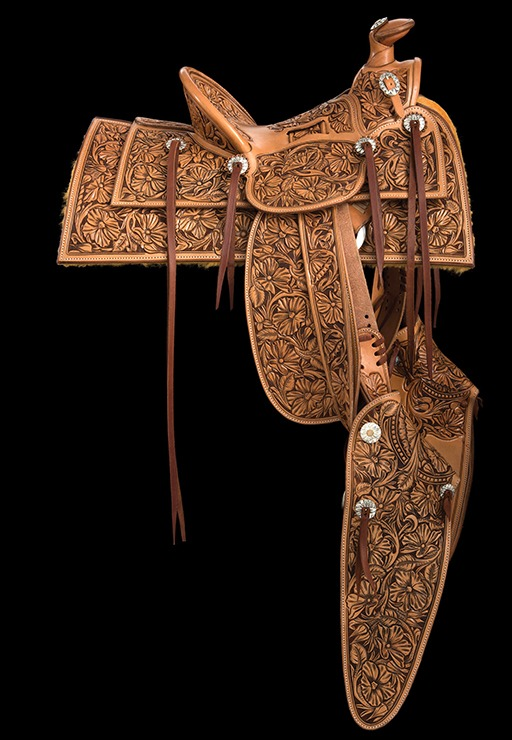 Willemsma built the half-sized, Visalia-style saddle on a tree made by Chuck Stormes and Troy West.