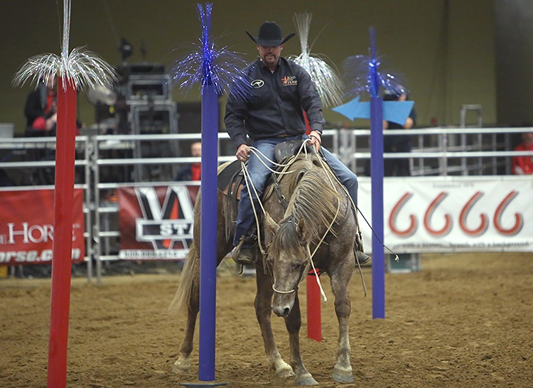 Clinton Anderson guides his horse through a trail obstacle in the final round.