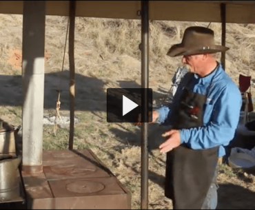 Kent Rollins with his cowboy cookstove