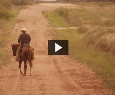 cowboy riding away on horse