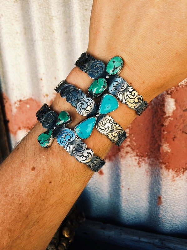 Sterling and turquoise bracelet by Nevada Watt