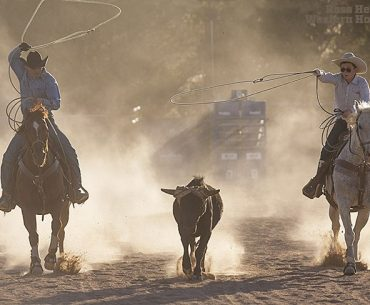 Clint Mortenson ropes with his son, Wyatt, in his arena near Santa Fe, New Mexico. The talented saddle maker and silversmith is also handy on a horse, and his love for being in the saddle is apparently genetic. An article about Mortenson appeared in the August 2015 issue of Western Horseman.