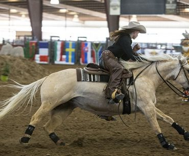 Heather Burchnall and her horse, Roosters Siouxweet, race toward the finish line at the 2017 Extreme Cowboy Association World Championships.