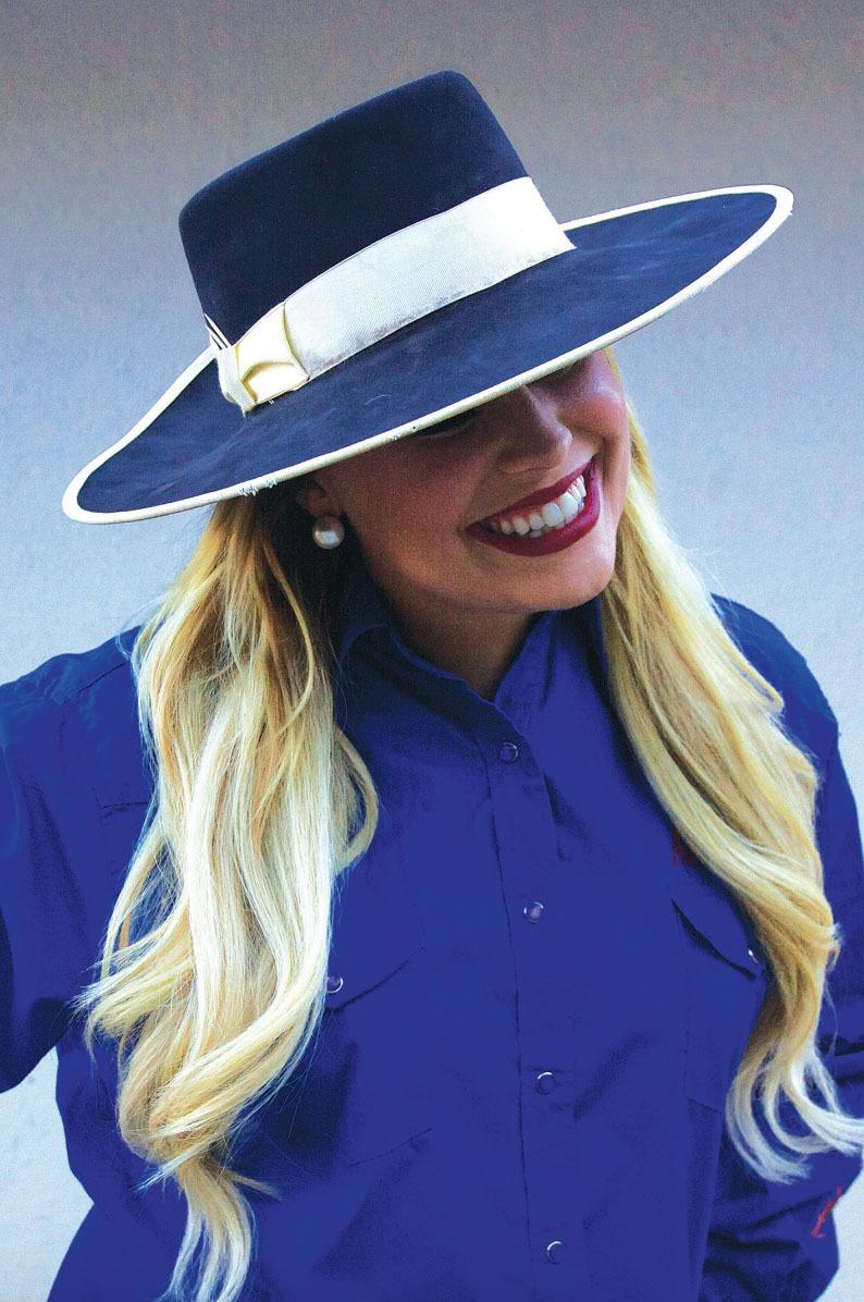 """c8a086ca536 Adrian """"Buckaroogirl"""" Brannan wears a custom felt hat made by KJ Murphy s  in Santa Ynez"""