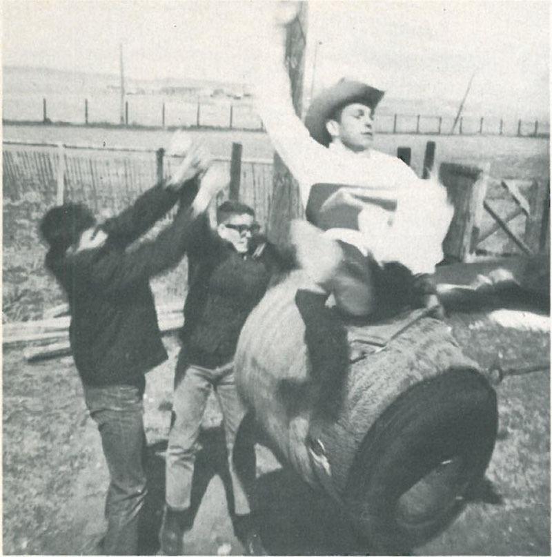 man practicing on a Bucking Barrel