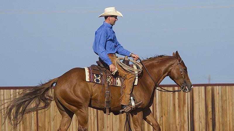 Ben Baldus riding horse while practicing for ranch versatility