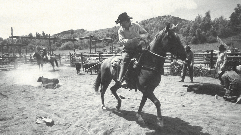 Red Steagall dragging a calf to the fire