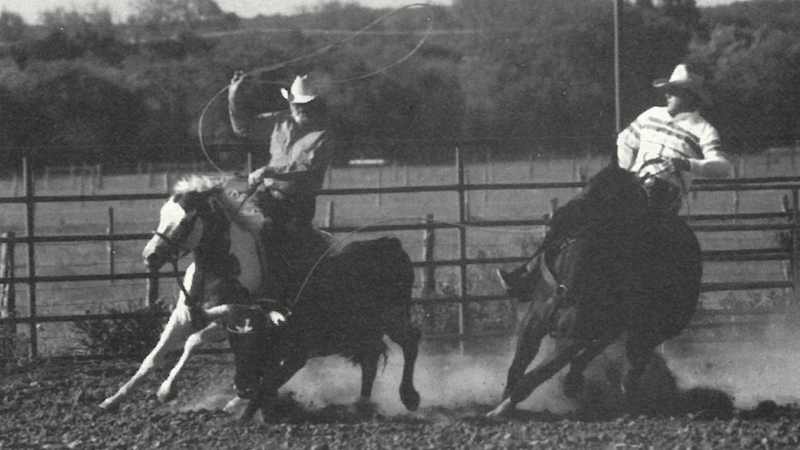 Red and Fred team roping a steer