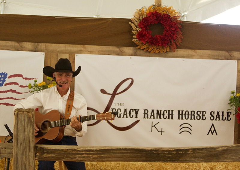 Gail Steiger entertains the audience at the Legacy Ranch Horse Sale.