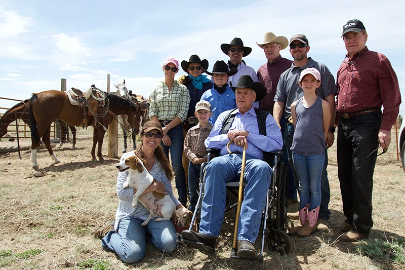 The Robert Norris family at the Tee Cross Ranches branding.