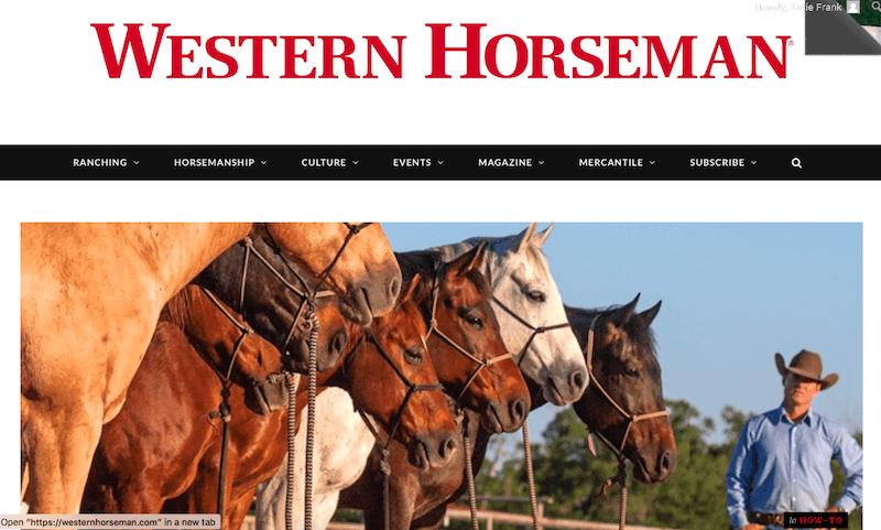 Western Horseman website homepage