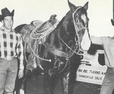Camarillo brothers standing by heel horse Peso