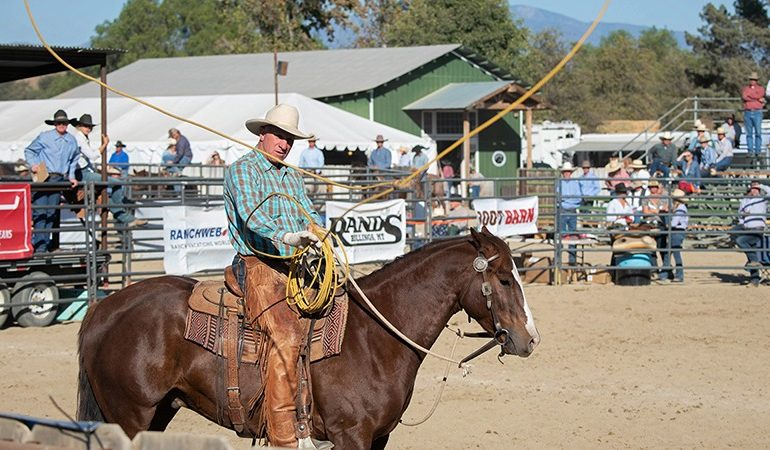 Buck Brannaman throwing a loop at the vaquero roping