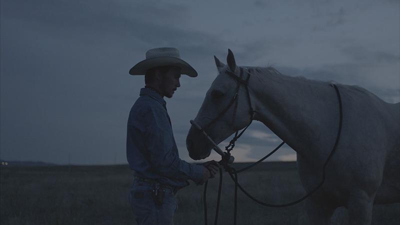 cowboy looks at palomino horse