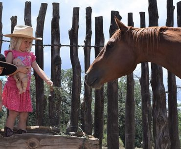 brother and sister with horse
