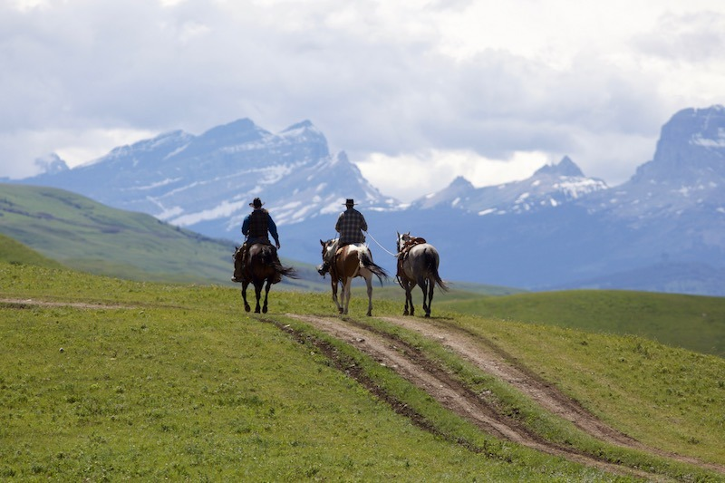 two men riding horses with mountains in the background