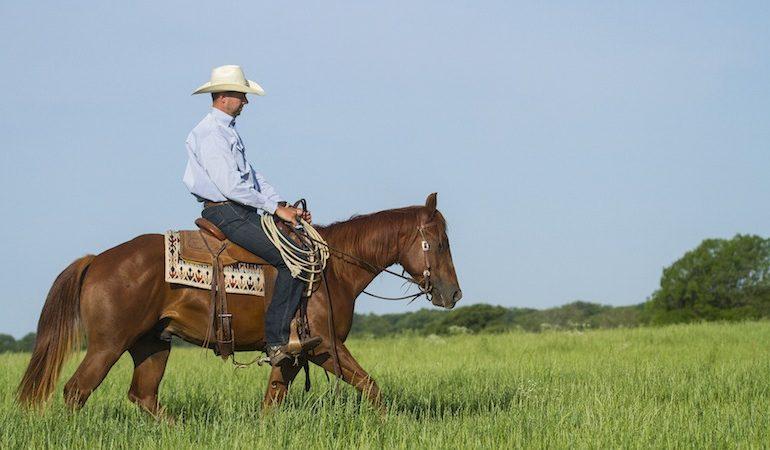 Ben Baldus riding horse through green pasture