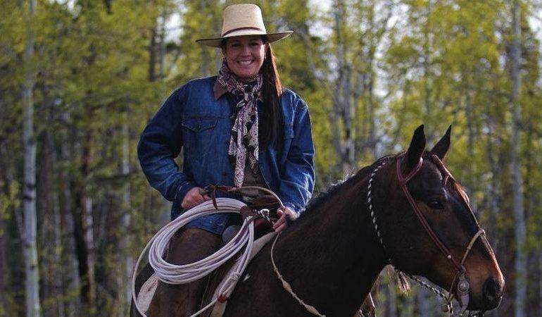 Emilie Wilcox Heggie on horseback