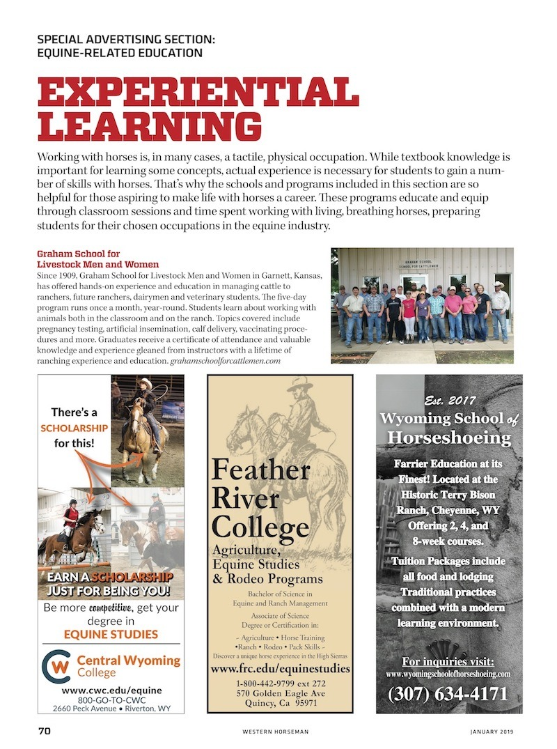 Special Advertising Section  page on Experiential Learning from Western Horseman January 2018 issue