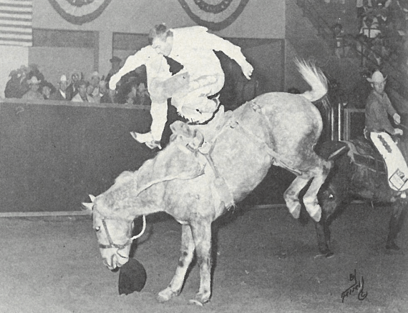 Larry Mahan stepping off of bucking horse at 1967 National Finals Rodeo