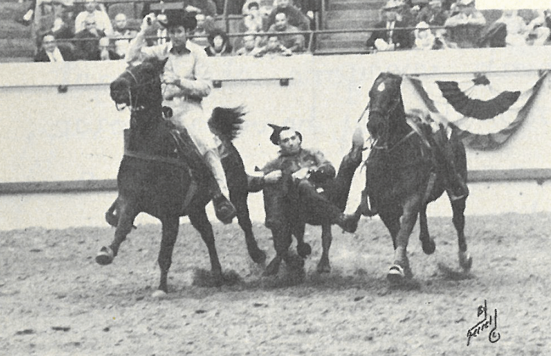 Walt Linderman bulldogging a steer at the 1967 National Finals Rodeo