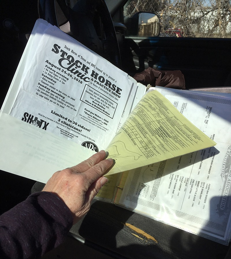 A three-ring binder that keeps horse health papers organized on the road
