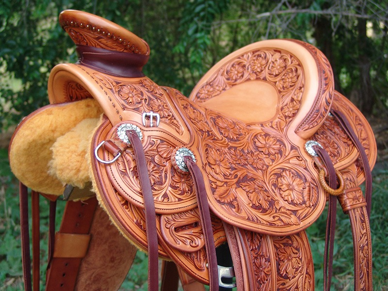 American made Wade saddle on stand by Chas Weldon