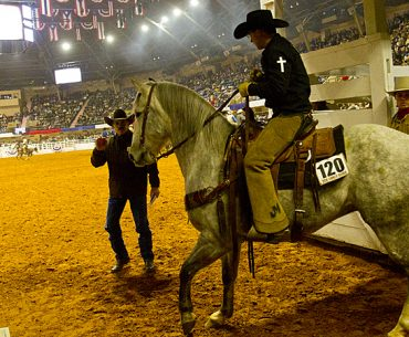 TJ Roberts and his ranch gelding at Fort Worth