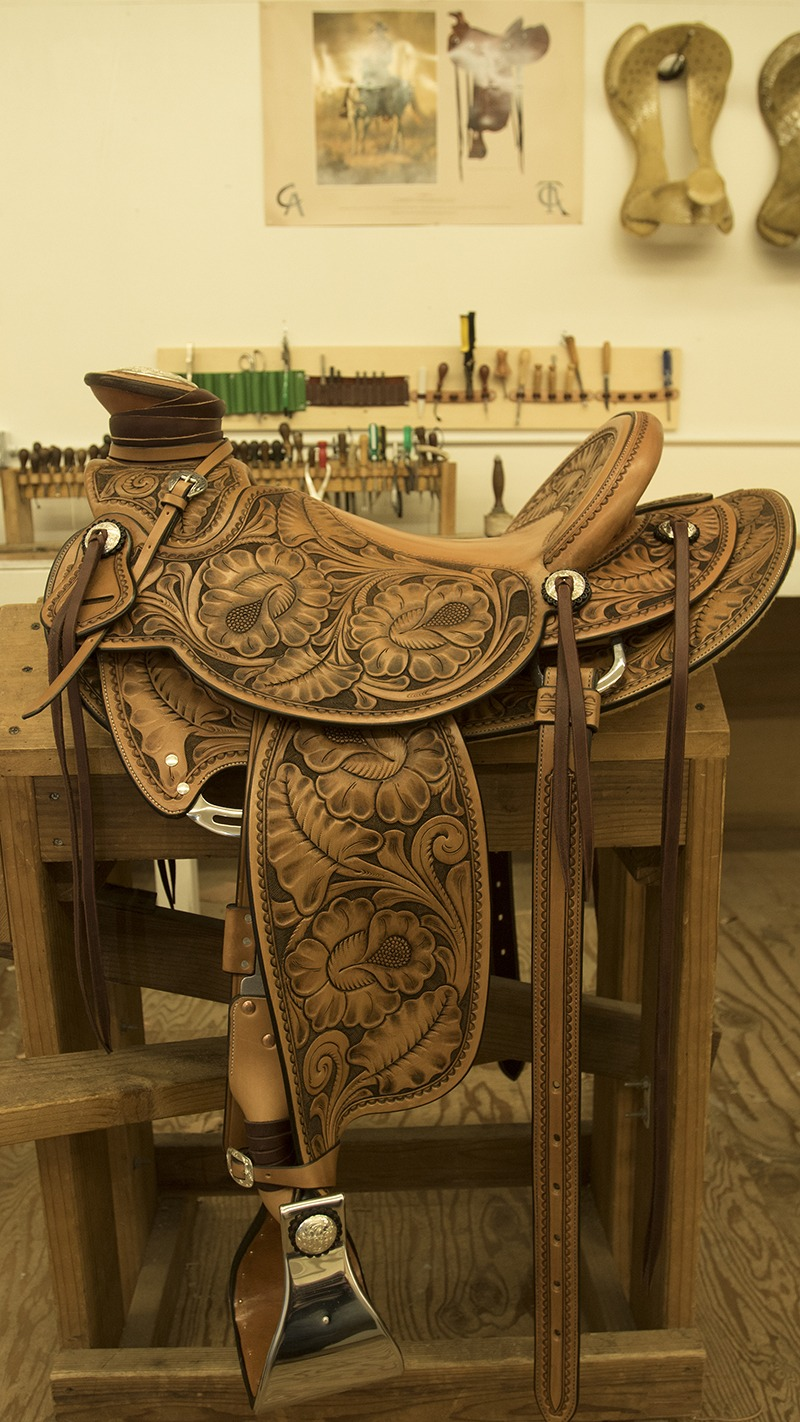 Wade saddle on stand at Hamley & Co in Pendleton, Oregon
