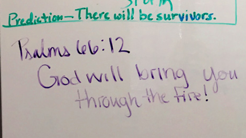 Psalms 66:12 bible verse on whiteboard