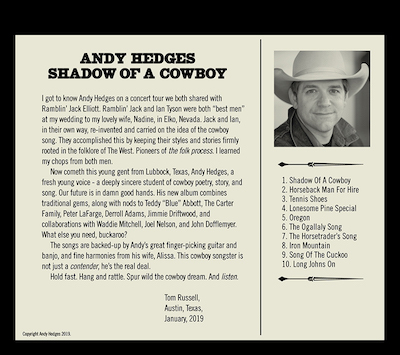 """Shadow of a Cowboy"" album back cover"