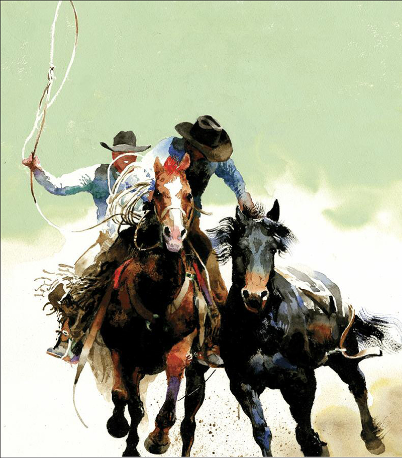 """Don Weller's painting """"Victory Lap"""" of a bucking horse and pickup men"""