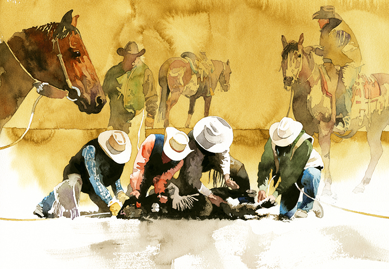 """Don Weller painting """"Working Hats"""" of cowboys tying down a calf"""