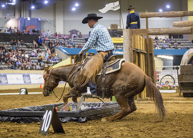 Road to the Horse 2019 Champion Nick Dowers and his No. 7 colt Future City Limits jumping into water trough