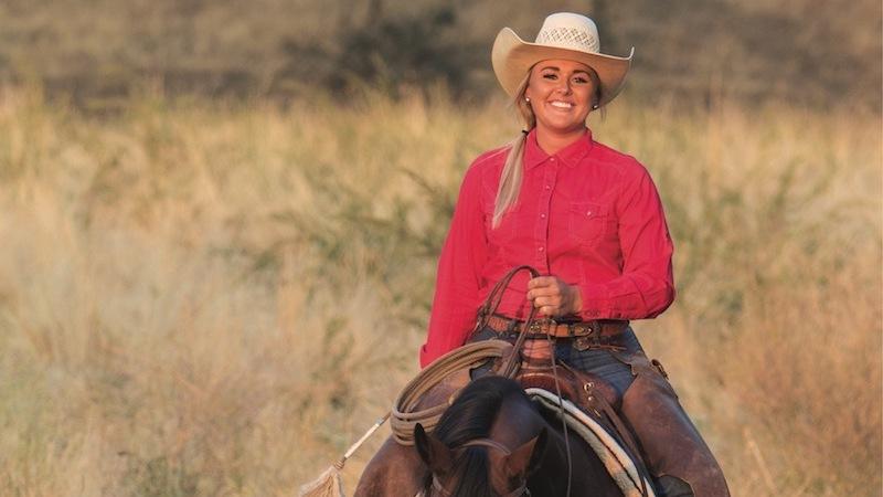 Nicole Courtney Smith riding on horse