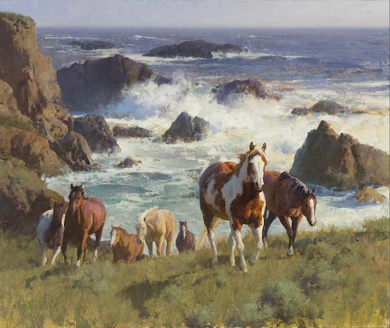 Bill Anton's Incoming Tide, a painting of the ocean and horses