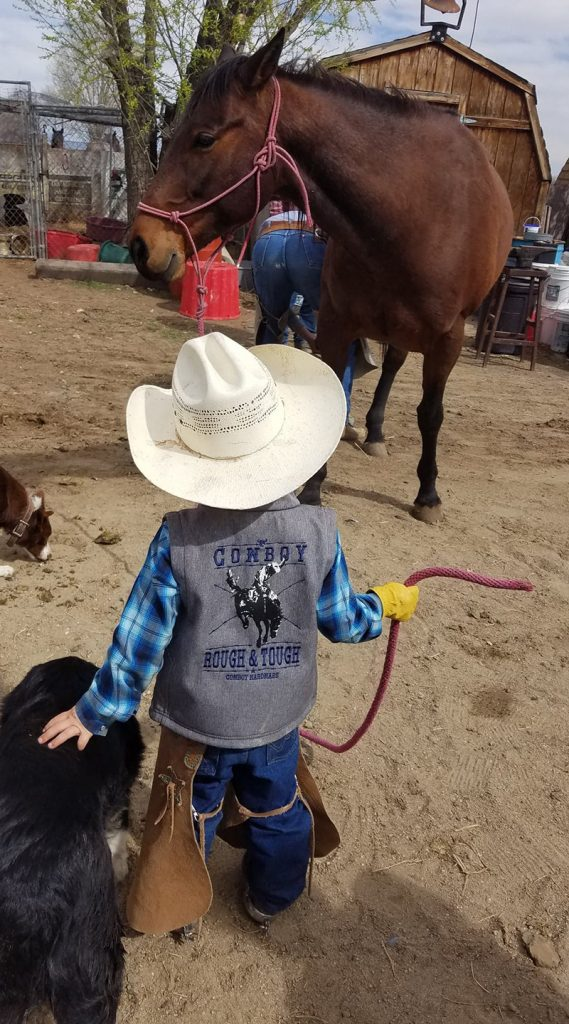 young cowboy pets dog while holding horse halter