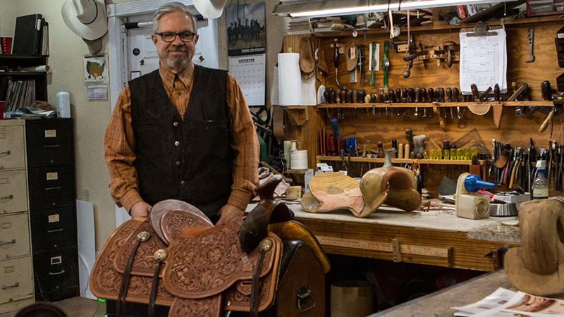 TCAA Troy West makes saddles in Azle, Texas