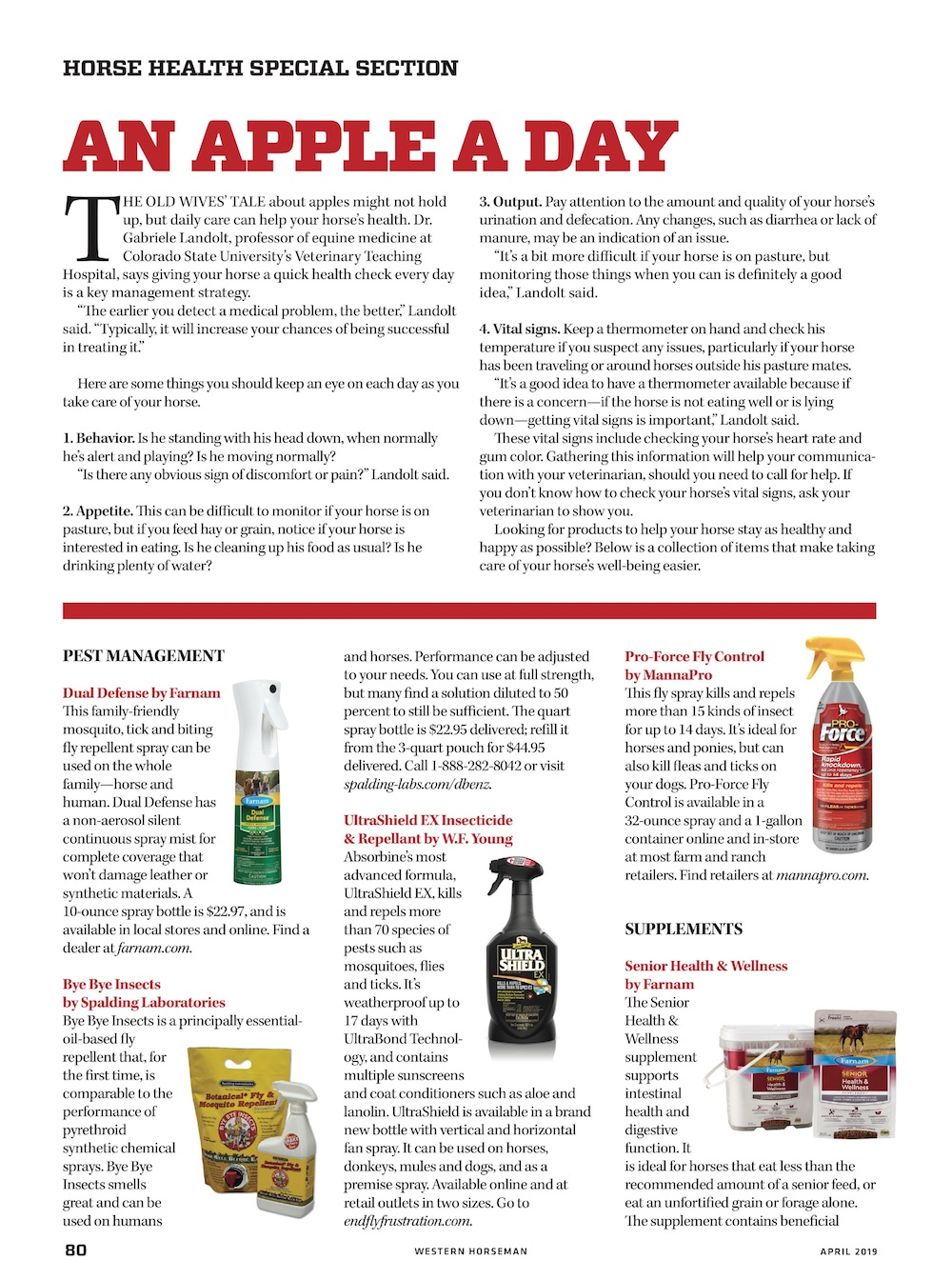 Horse Health special advertising section in Western Horseman magazine