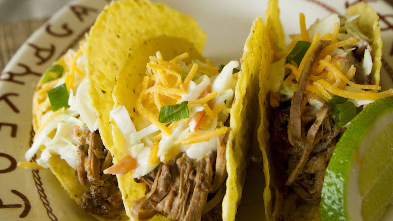 slow cooker mexican brisket on tacos