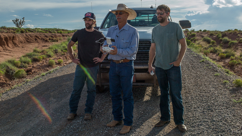 Filmmaker John Langmore with drones to video cattle and cowboys