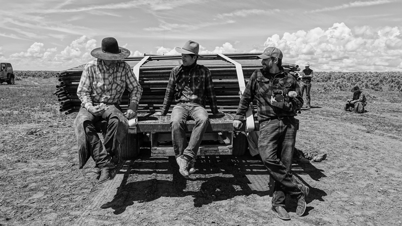 Greg Snow, John Langmore and Hank Wisrodt talk on the back of the truck on the YP Ranch in Tuscarora, Nevada