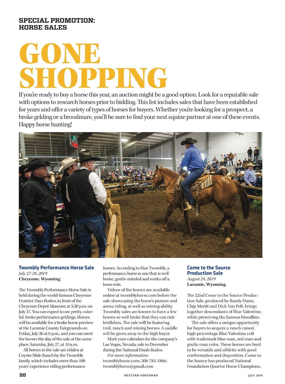 horse sales special promotions page from Western Horseman magazine