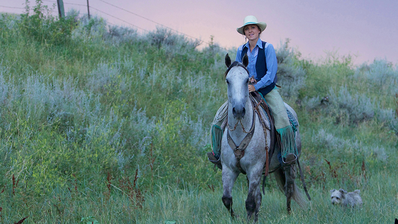 Women of the West Star Whitt rides gray horse